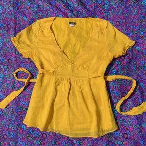 J. Crew Golden Yellow V-Neck Tie Back Blouse
